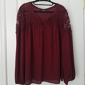 Burgundy Blouse with Lace